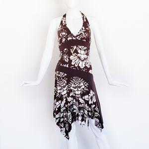NEW Brown White Floral Boho Halter Dress M
